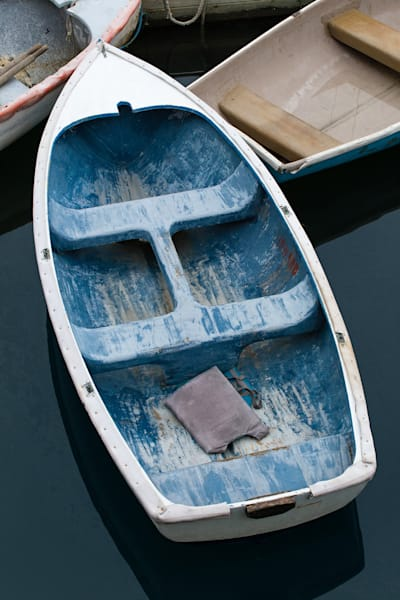 Bar Harbor Skiff II, Large Vertical Blue Rowboat Photograph, Boat Photography Print by Katherine Gendreau
