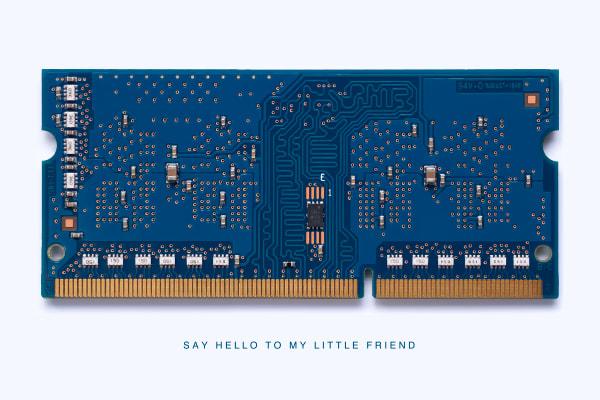Macmini Memory Module Say Hello Fine Art Print