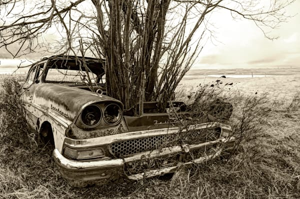 7 Souls by Byron Fichter, features an old antique Ford Fairlane that has been abandoned.