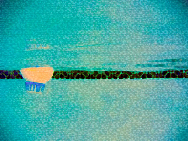 ABSTRACT UNDERWATER, BLUE, GREEN PHOTOGRAPH OF A FLOAT IN A SWIMMING POOL - Art