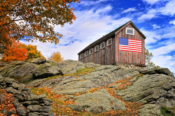 Vintage Americana wall art/rustic old barn with American flag fine art photography