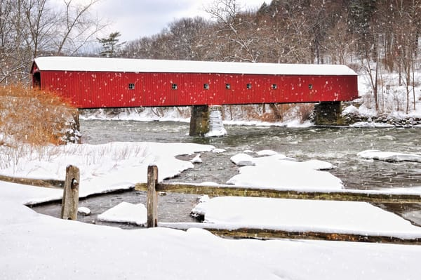 Vintage New England covered bridge fine art prints/Idyllic winter landscape of a Connecticut icon