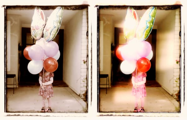 Photograph of Girl with Birthday Balloons