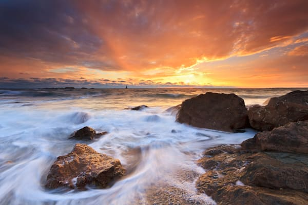 """The Finale"" Fine art Rhode Island beach seascape photograph taken at Sakonnet Point in Little Compton, RI at sunset."