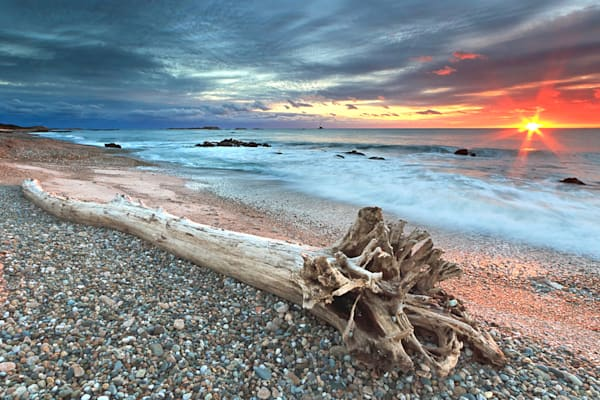 """Sakonnet Driftwood"" Fine art beach seascape photograph, taken at Sakonnet Point in Little Compton, Rhode Island at sunset."