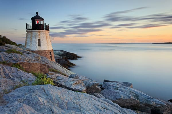 """Castle Hill Summer Sunset"" Newport Rhode Island fine art ocean lighthouse photograph."