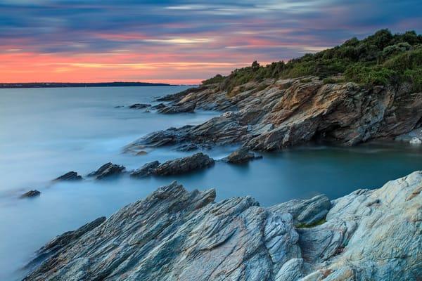 """Frontal Passage"" Fine art Rhode Island ocean coastal photography print, taken at sunset in Beavertail State Park, Jamestown, RI."