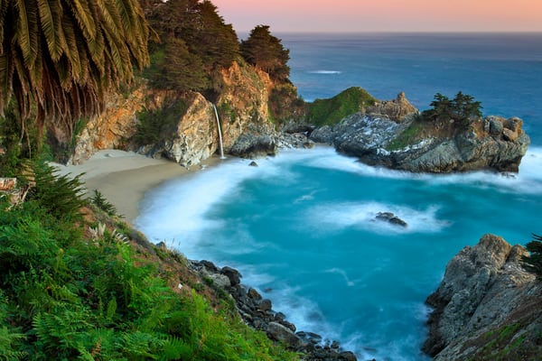 """McWay Falls Sunset"" - Big Sur California fine art seascape photography by Katherine Gendreau."