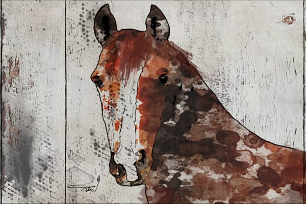 The Brown Horse 1. Large Brown Rustic Horse Canvas Art