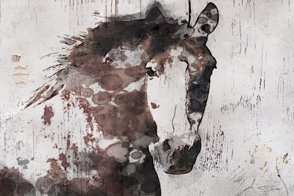 Gorgeous Horse. Large Brown Farmhouse Rustic Horse Art