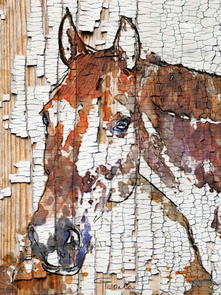 The Observer. Large Brown Farmhouse Rustic Horse Art