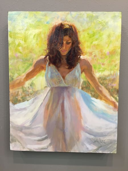 "Draped figure painting by Eric Wallis titled ""Summer Steps"""