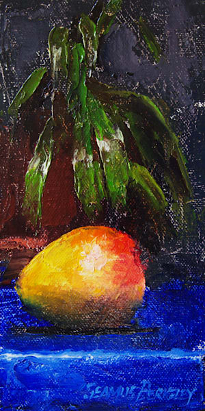 Mango On Blue Art | Fine Art New Mexico