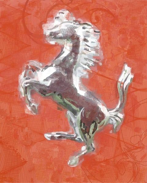 Ferrari Silver Logo Photographic Print