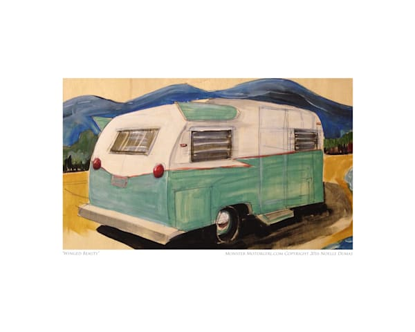 Retro modern, vintage Camper art painting, tin can tourist
