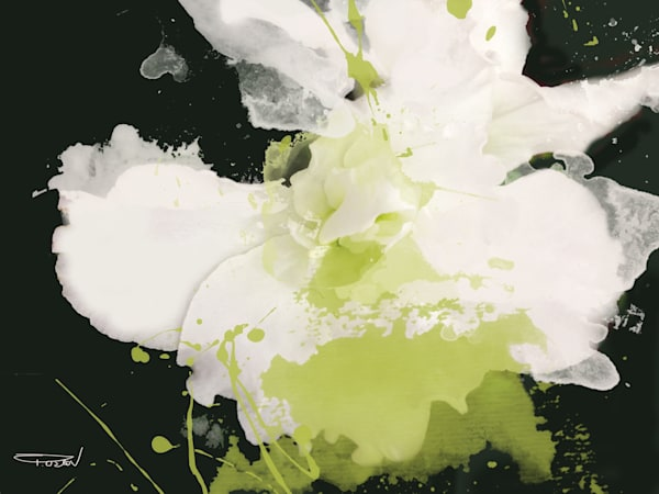 Serene Green, White Green Flower Art
