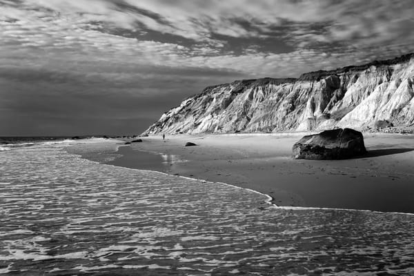 """Gay Head Bluffs"" Black and white Martha's Vineyard beach photography"