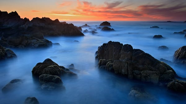 """Asilomar Sunset"" California coast seascape panorama photograph"