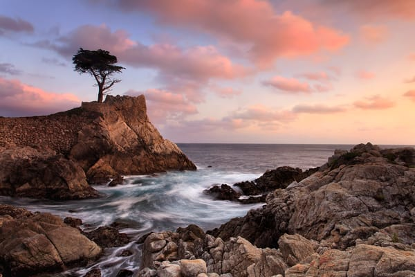 """Lone Cypress Sunset"" Pebble Beach California coastal wall art"