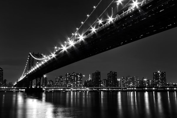 """Under the Manhattan Bridge"" Black and white NYC skyline photograph"