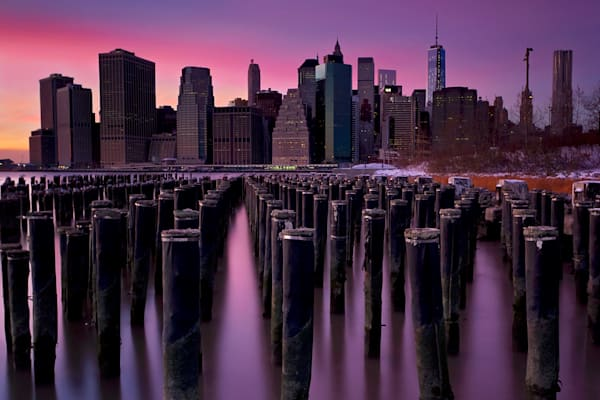 """Manhattan Aglow"" Fine art NYC skyline sunset photograph"