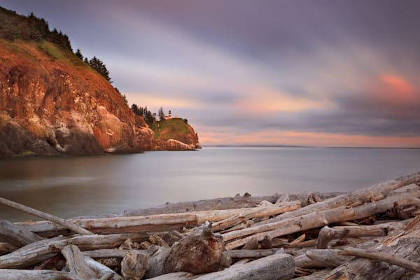 """Cape Disappointment Sunset"" Washington coast fine art seascape photograph"