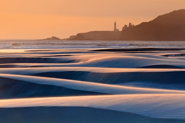 """Swirling Sands"" Oregon coast lighthouse seascape photograph"