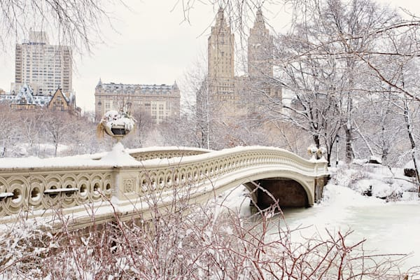 """Bow Bridge Ice Storm"" Central Park NYC Winter Snow Photograph"