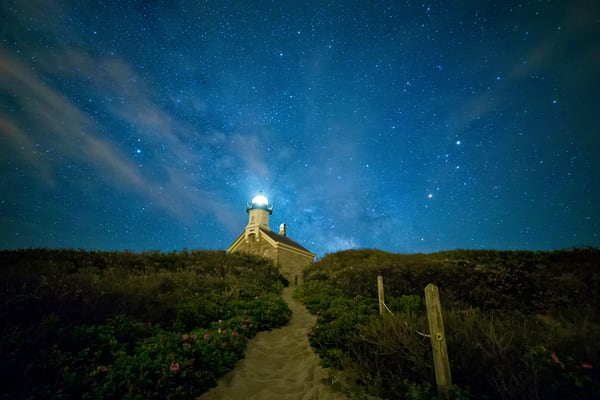 """North Light at Night"" Fine art Block Island lighthouse photograph"