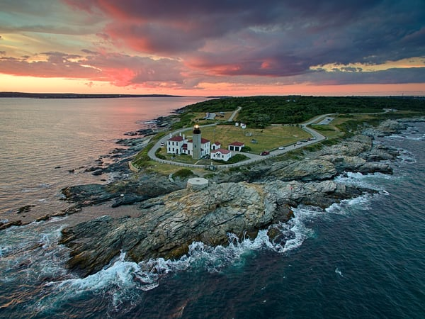 """Over Beavertail II"" Rhode Island aerial lighthouse photograph"