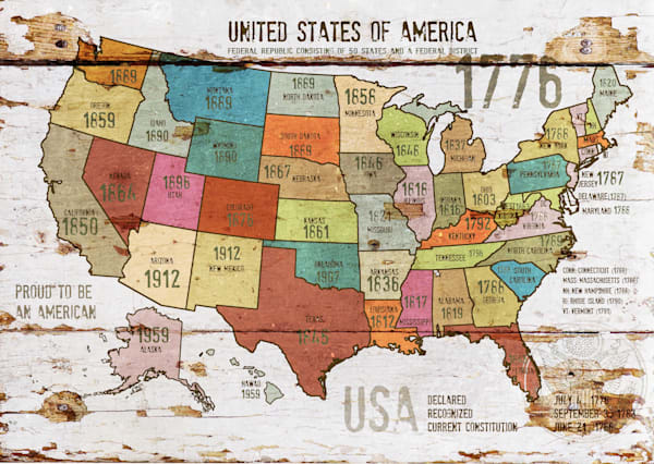 Orl 2989 3 The United States Of America Map Ii Art | Irena Orlov Art