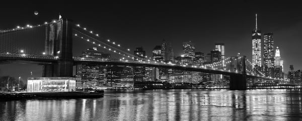 """Brooklyn Bridge at Night"" Black and white New York City skyline photography"