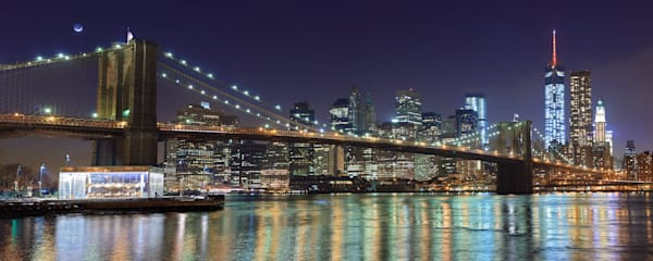"""Brooklyn Bridge at Night"" Panoramic fine art NYC skyline photograph"