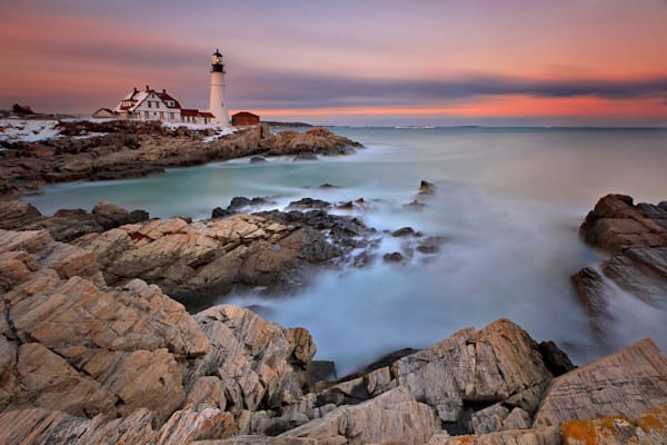 """Evening Rush"" Fine art Maine lighthouse sunset photograph"