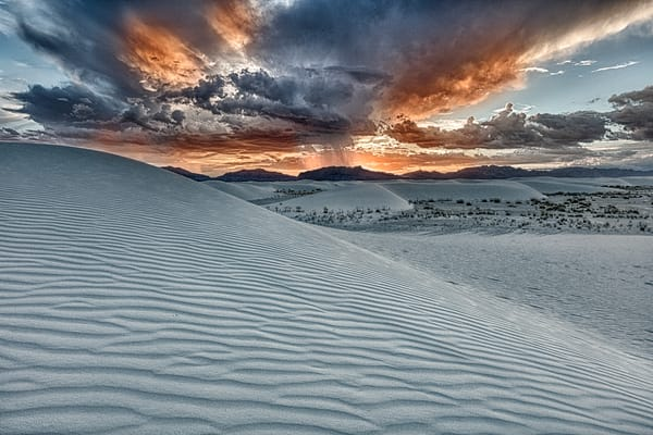 Thunderstorm Raging On White Sands Dunes photograph for sale as art.