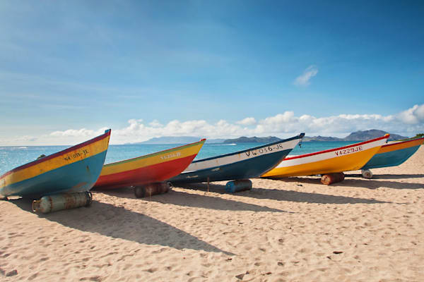 """Caribbean Fishing Boats"" Fine Art St Kitts Nevis Beach Photograph"