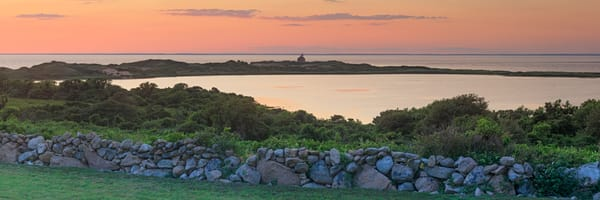 """Sachem Pond Summer Sunset"" Block Island Rhode Island Panoramic Lighthouse Photograph"
