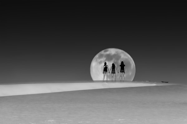 Girls Watching Full Moon Rise photograph for sale as art.