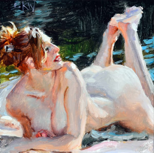 """Print of a miniature oil titled """"Lakeside"""" by Eric Wallis"""