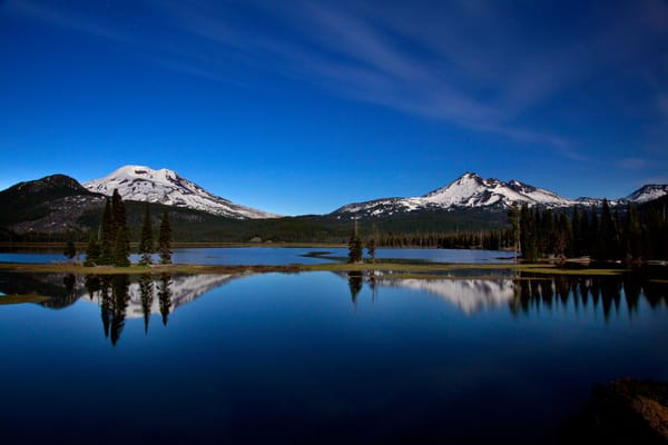 Sparks Lake Night Photograph Reflection Under Full Moon for sale as art.