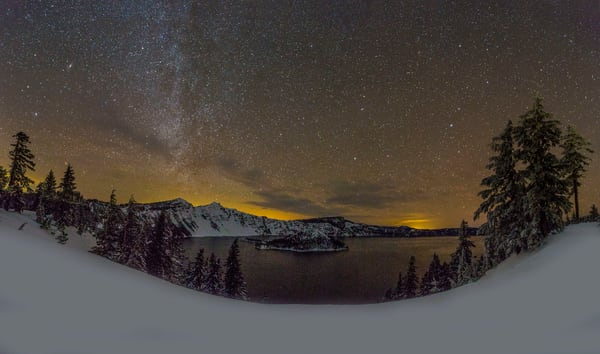 Milky Way Over Crater Lake In Winter photograph for sale as art.