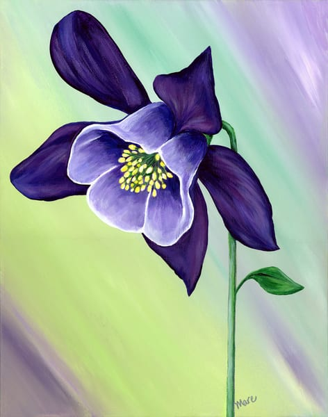 Acrylic painting of Graceful Columbine on canvas by Mary Anne Hjelmfelt