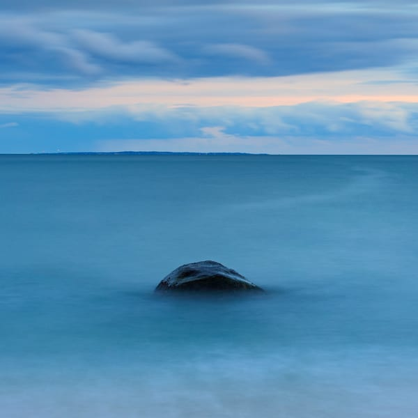 """Resolution"" Weekapaug, Rhode Island fine art, square blue seascape photograph"