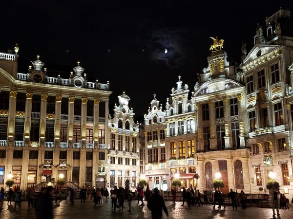 Moon Over Grand Place, Brussels Photography Art | Photoissimo - Fine Art Photography