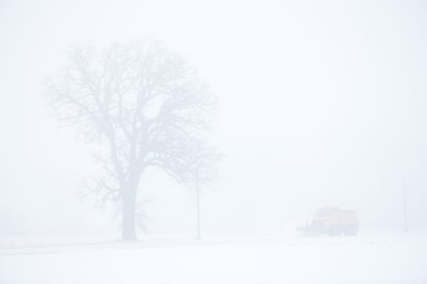 Snowplow in Winter Fog photograph for sale as Fine Art.