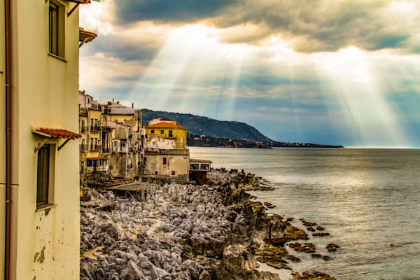 Sun Rays Shine of the Sea in Cefalu
