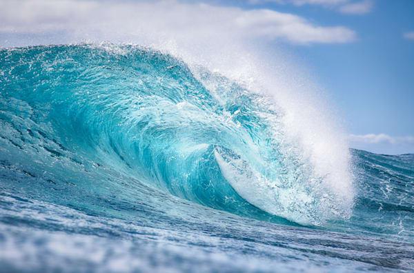 """Icy Blue Barrel"" Fine Wave Art Photography from Kauai, HI"