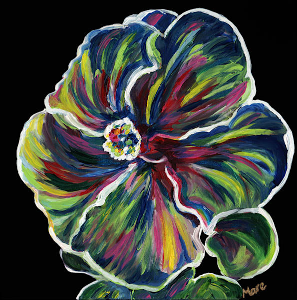 Original acrylic painting of a Hawaiin Hibiscus flower by artist Mary Anne Hjelmfelt.
