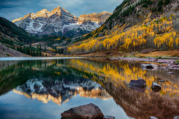 Autumn Sunrise On Maroon Lake photograph for sale as art.