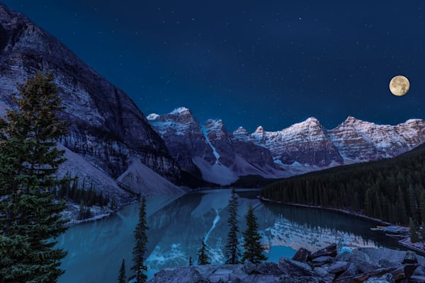 Blood Moon Over Lake Moraine Photography Art | John Martell Photography